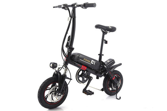 China Black Folding E Bike With 36V 8A Voltage Lithium Battery And Aluminum Alloy Wheel factory